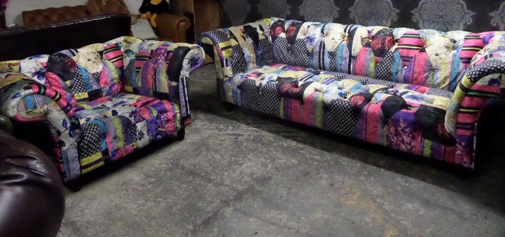 6 Month Old Chesterfield Velvet Patchwork Large 3 Seater Sofa Chair Suite Uk Delivery