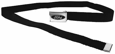 "Clamp Web Men Canvas Military Ford Focus Mustang F-150 Logo Silver 1.25"" Black"