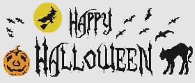 Happy Halloween motto sampler counted cross stitch chart,pumpkin,black cat,witch ()