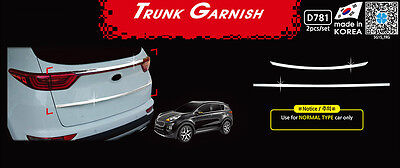 Chrome Rear Trunk Garnish Molding 2P D781 for Kia Sportage Normal Trim 2017~2020