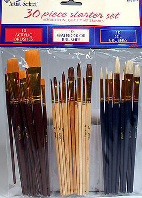 30 FINE ART PAINT BRUSHES FOR ACRYLIC, OIL, WATERCOLORS on Rummage