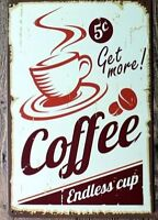 8 x 12 inch Coffee- Diner Inspired Tin Wall Sign