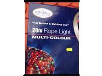 XMAS 20M rope light multi colour