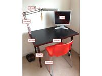 desk, chair, monitor and desk lamp for sale