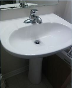 white pedestal sink combo and faucet - Milton
