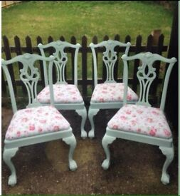 Shabby chic cath kidston vintage chairs x 4
