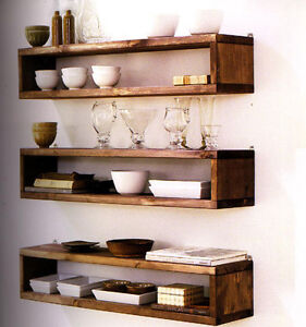 Country style open wall shelving
