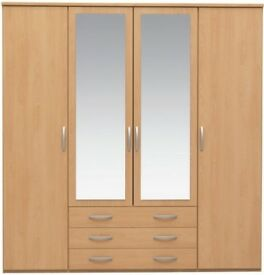 Wardrobe 4 doors, 3 drawers, mirror - beach colour