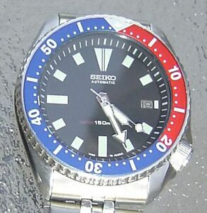 SEIKO 7002 7000 SS MENS DIVE PEPSI SS BAND AUTOMATIC WATCH