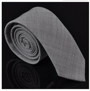 2 inch Men Vintage Classic Wool Slim Wedding Tie Plain Solid Grey Narrow Necktie
