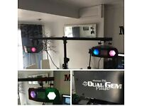 DUAL GEM DISCO LIGHTS WITH STROBE EFFECT AND STAND.. PERFECT CONDITION!!!