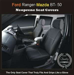 Ford Ranger PX 2011-on Premium Neoprene FRONT FULL BACK + MAP POCKET Seat Covers