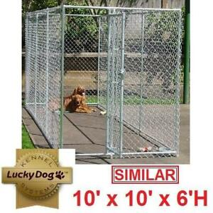 NEW* LUCKY DOG FENCED KENNEL CL 61528EZ 206072069 10' x 10' x 6' H KENNELS FENCE FENCING HOLDING PEN PENS CAGE CAGES ...
