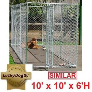 NEW LUCKY DOG FENCED KENNEL CL 61528EZ 137616059 10' x 10' x 6' H KENNELS FENCE FENCING HOLDING PEN PENS CAGE CAGES D...