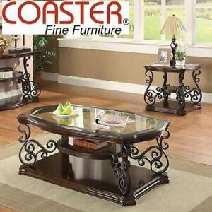 NEW COASTER TRADITIONAL END TABLE 702447 251831953 DARK BROWN LIVING ROOM FURNITURE DECOR ORNATE METAL GLASS