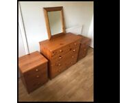 SOLD SUBJECT TO COLLECTION! Pine bedroom furniture - Chest of drawers, 2 x bedside tables,