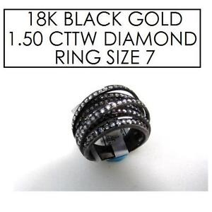 NEW* STAMPED 18K DIAMOND RING 7 JEWELLERY - JEWELRY - 18K BLACK GOLD - 1.50 CTTW 101713077