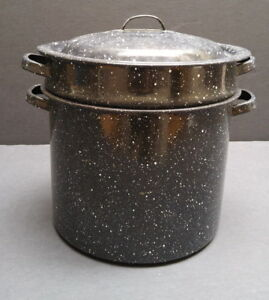 Enamelware stock/canning/pasta pot with handles, lid & strainer