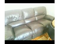 Brown Harvey's Real leather recliner sofa