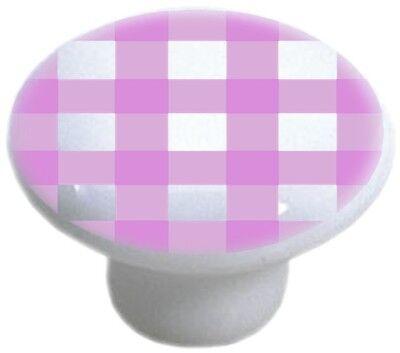 - PINK Gingham CABINET DRAWER Pull KNOB Ceramic