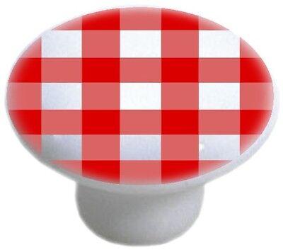 - RED Gingham CABINET DRAWER Pull KNOB Ceramic