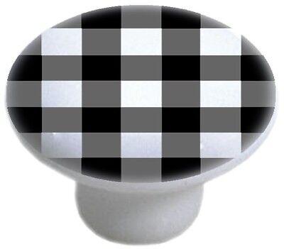 - BLACK Gingham CABINET DRAWER Pull KNOB Ceramic