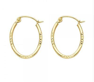14K Solid Yellow Gold Diamond Cut Oval Hoop Earrings
