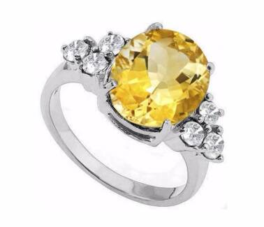 4.36 CARAT CITRINE & WHITE TOPAZ PLATINUM OVER 925 SILVER Slacks Creek Logan Area Preview