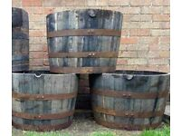Solid Oak Whiskey Barrels