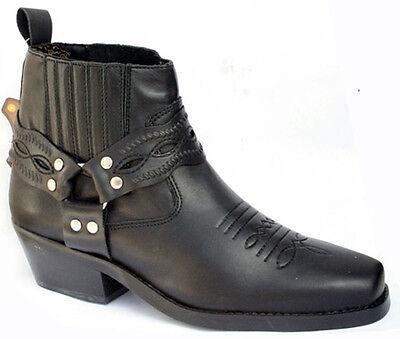 Mens Genuine Black Leather Western Cowboy Harness Boots - Biker / Line Dance