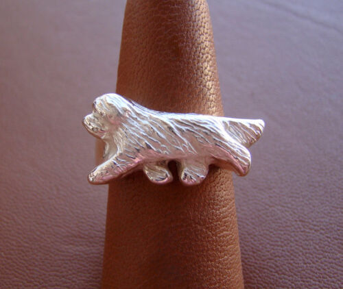 Small Sterling Silver Bearded Collie Moving Ring