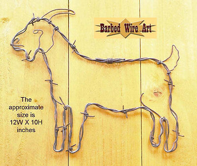 (Goat - handmade decor Barbed wire art farm country chicken poultry brown metal)