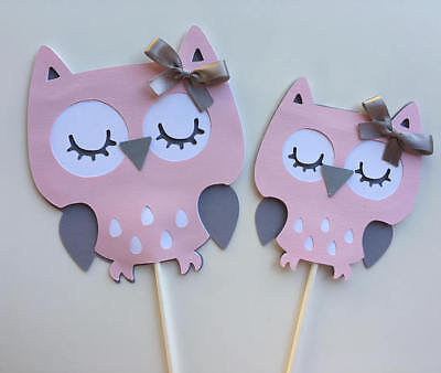Owl light pink and gray/ Owl baby girl/ Owl baby shower/ Owl centerpieces - Pink And Grey Baby Shower Decorations