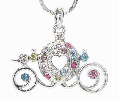Magical Cinderella Carriage Wagon Pendant Necklace White Gold Plated Gift her