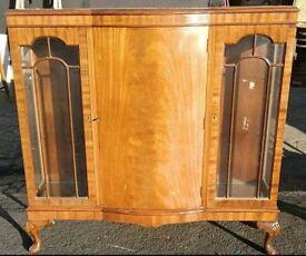 Vintage mahogany display cabinet bookcase