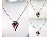 NEW Ladies Jewellery Pendant Rose Gold And Coloured Heart Necklace In Pink