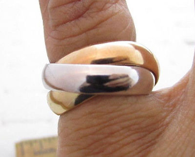 Color Rolling Band (Vintage Tri-Color Trinity Rolling 4mm 3 Band Gold Plated Esposito Ring ESPO*S967)
