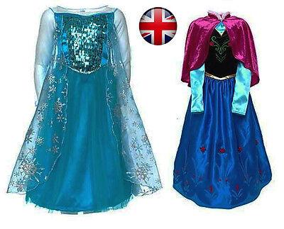 Frozen Elsa/Anna Girls Fancy Dress Costume Deluxe Snow Queen Elsa Anna - Snow Queen Frozen Kostüm