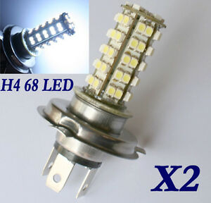 2x H4 3528 68 SMD LED Auto Lampe Licht Strahler weiss Birne 5500K-6000K 12V