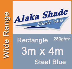 extra heavy duty shade sail steel blue rectangle 3x4m 3m x 4m 3 by 4m 3 x 4m ebay. Black Bedroom Furniture Sets. Home Design Ideas
