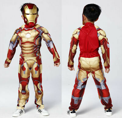 Halloween Costume For Kids Deluxe Iron Man Jumpsuit Boys Cosplay Fancy -