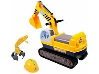 TODDLERS KIDS 2 IN 1 DIGGER & GRAB RIDE ON TOY INCLUDES HARD HAT ZTL146096