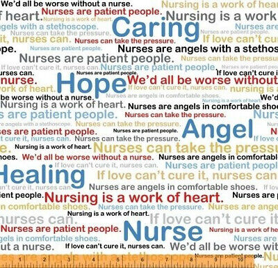 Calling All Nurses Cotton Fabric Hope Caring Words White Windham By The Yard