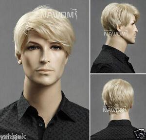 HOT !!  Men's short blonde hair wig wig male European and American popular H83