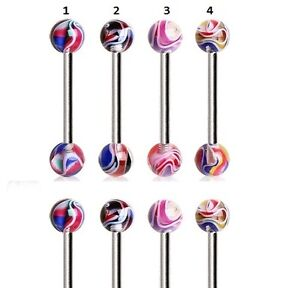 New-Surgical-Steel-Tongue-Naval-Bar-with-5mm-Multi-Swirl-Marble-Balls-10mm