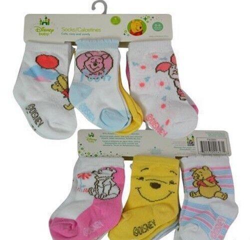 NEW Disney Baby Winnie The Pooh & Piglet 6-Pair Infant Socks, 0-6 Months