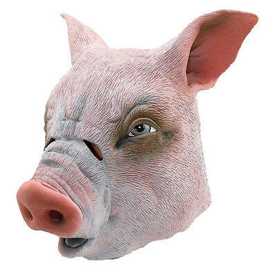 Pink Pig Overhead Rubber Mask Animal Saw Halloween Party Fancy Dress Costume