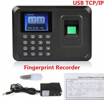 Biometric Fingerprint Attendance Time Clock Employee Payroll Recorder TCP/IP+USB