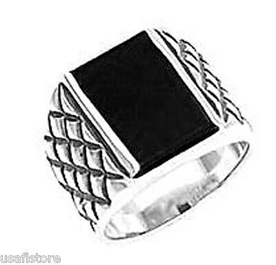 Genuine Jet Black Onyx Stone Rhodium EP Mens Ring New - Genuine Onyx Mens Ring
