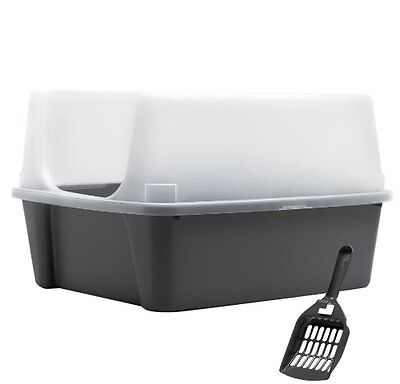 IRIS Open Top Cat Litter Box Kit with Shield and Scoop, Gray New